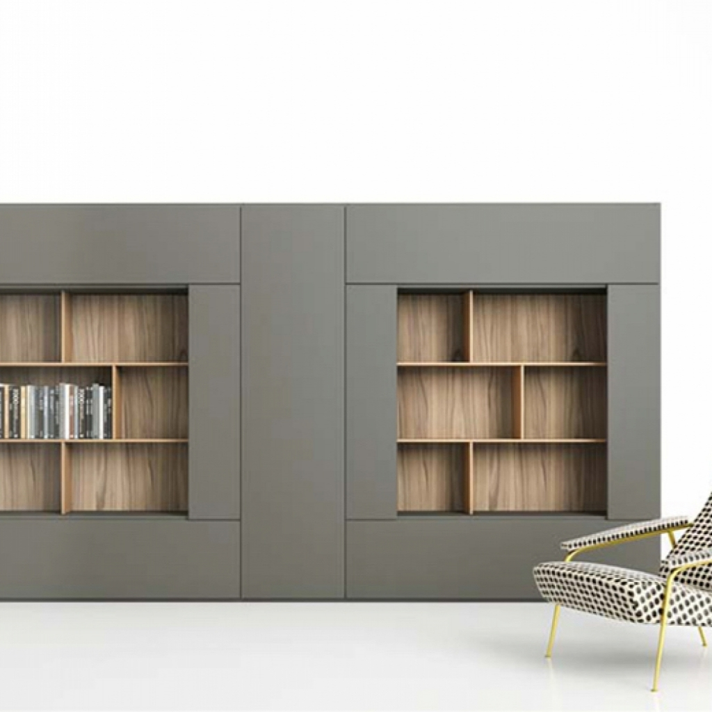 Libreria roomy con mensole e ante laterali by caccaro for Caccaro roomy