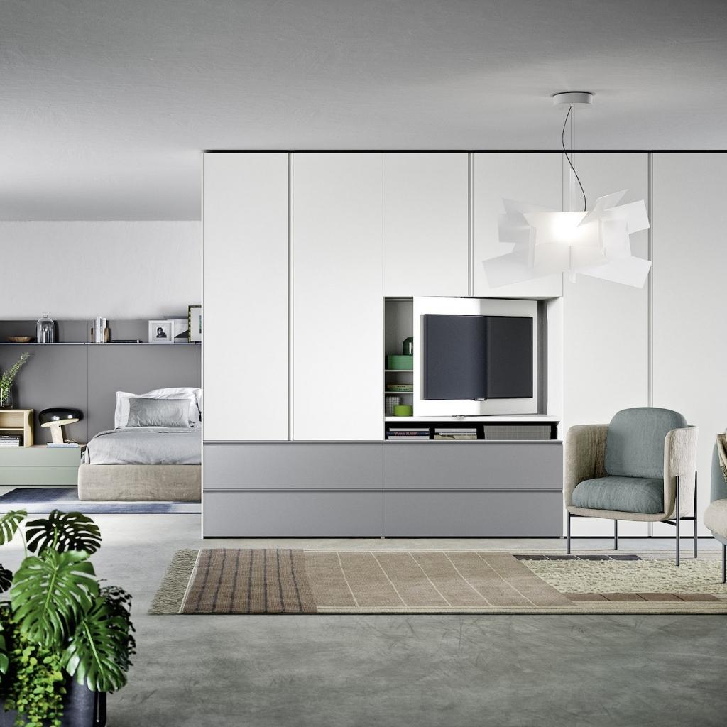 Armadio battente gola modulo porta tv by novamobili ztl for Modulo arredamenti pisa